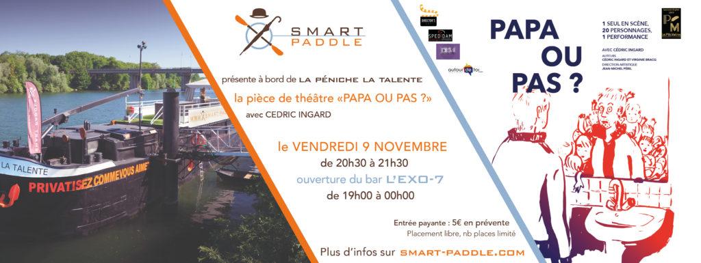 Smart Paddle accueille la pièce de théâtre Papa ou pas ? à bord de la péniche La Talente